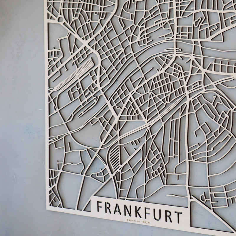 Wooden map of Frankfurt