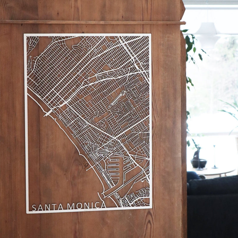 Wooden map of Santa Monica LA