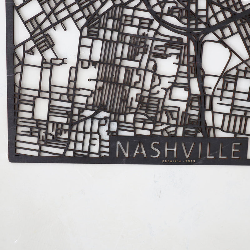 Wooden map of Nashville