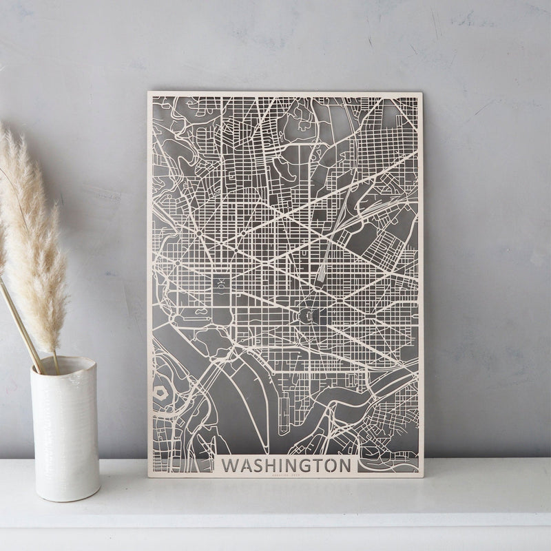 Wooden map of Washington D.C.