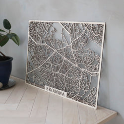 Wooden map of Bromma (Stockholm)