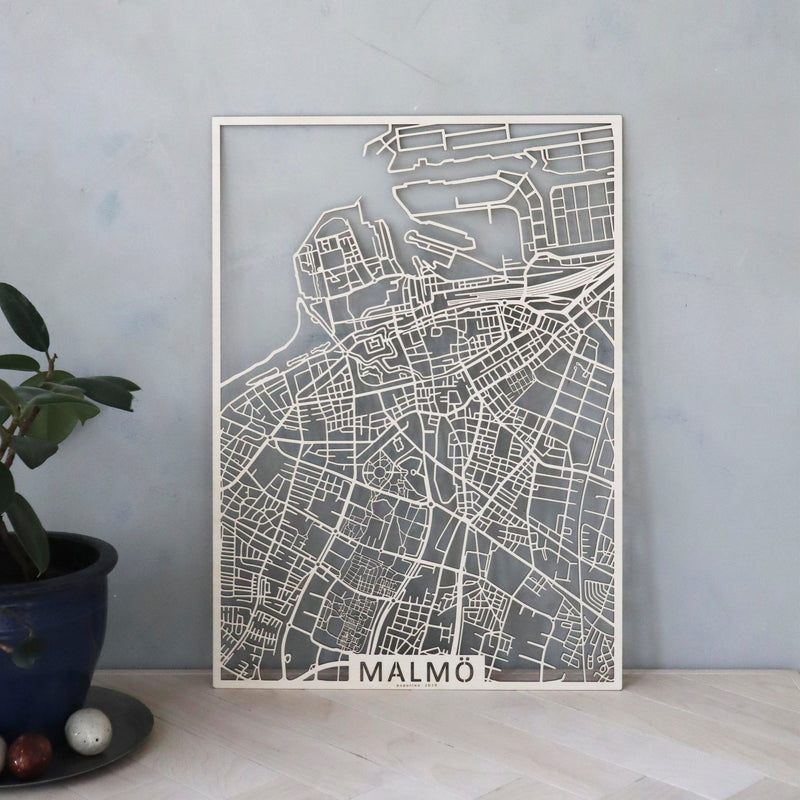 Wooden map of Malmö