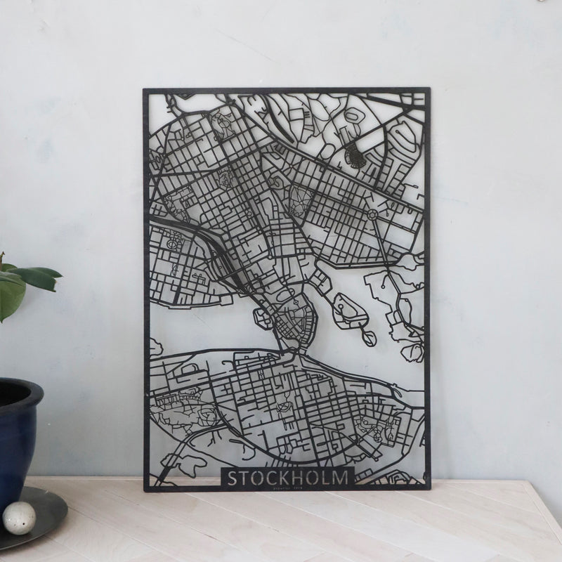 Wooden map of Stockholm