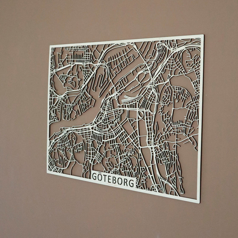 Wooden map of Göteborg