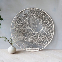 Wooden map of Hamburg round