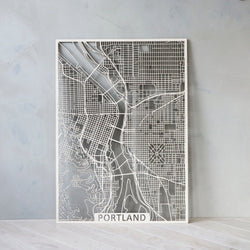 Wooden map of Portland Oregon