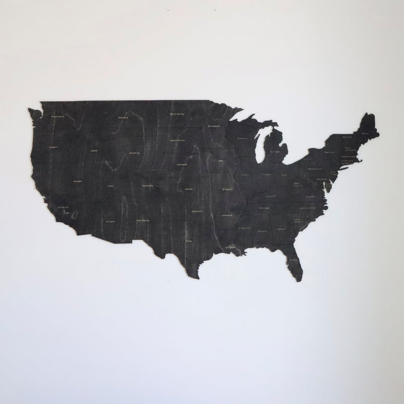 Wooden map of USA