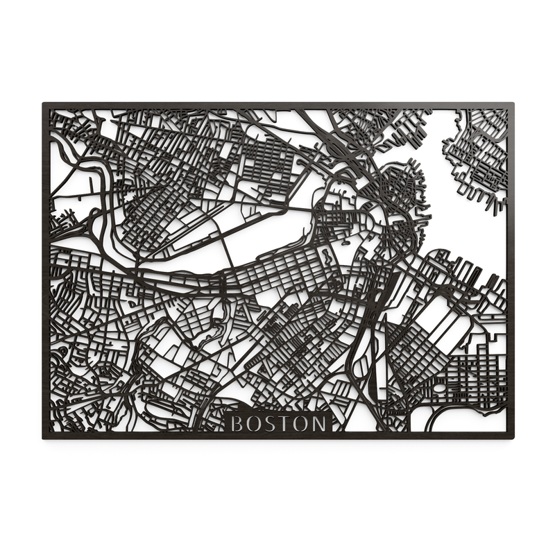 Wooden map of Boston
