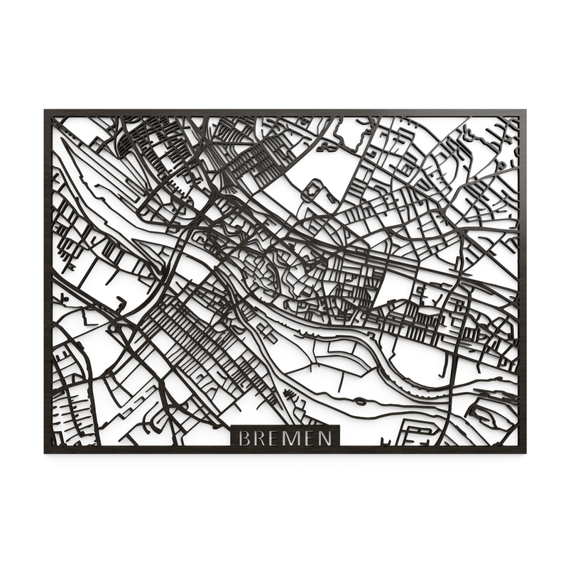 Wooden map of Bremen