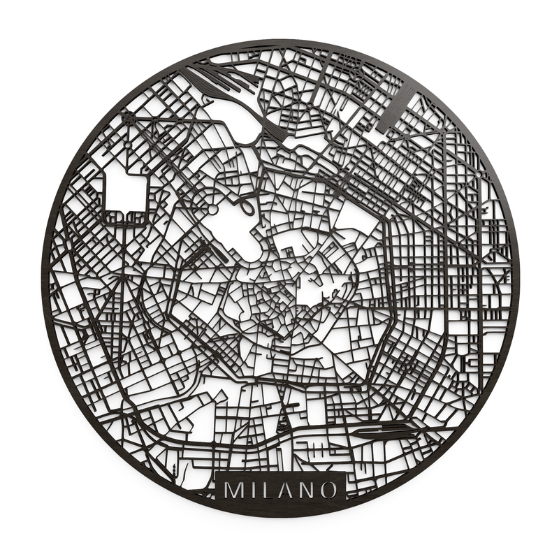 Wooden map of Milano