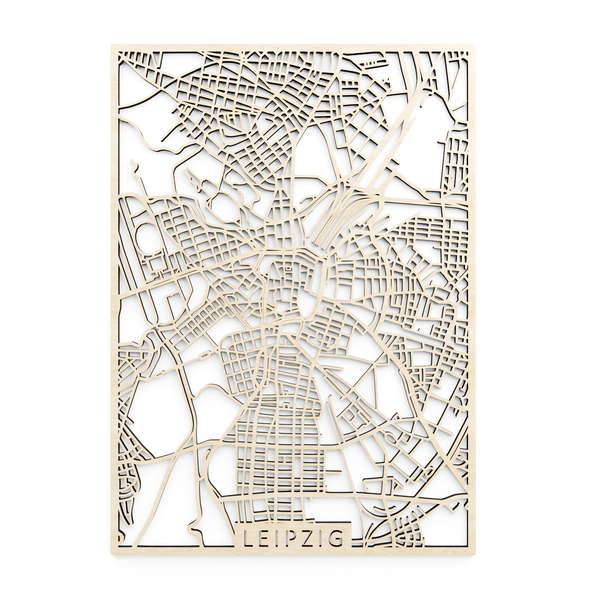 Wooden map of Leipzig