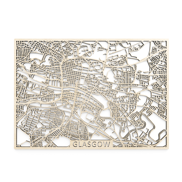 Wooden map of Glasgow