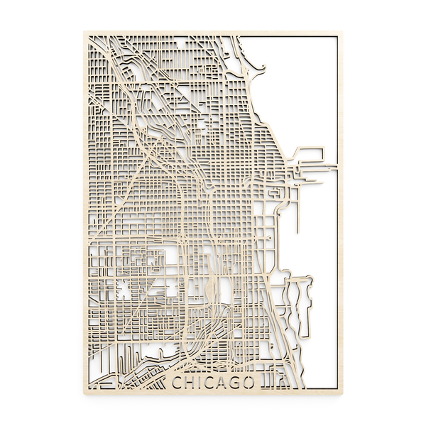 Wooden map of Chicago