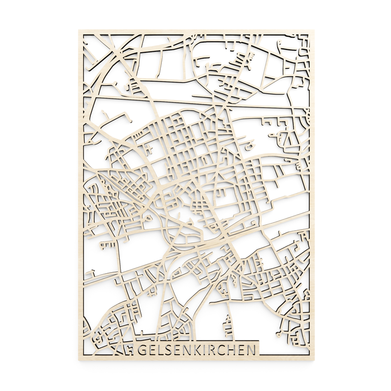 Wooden map of Gelsenkirchen