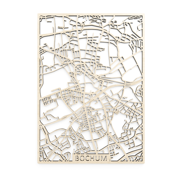 Wooden map of Bochum