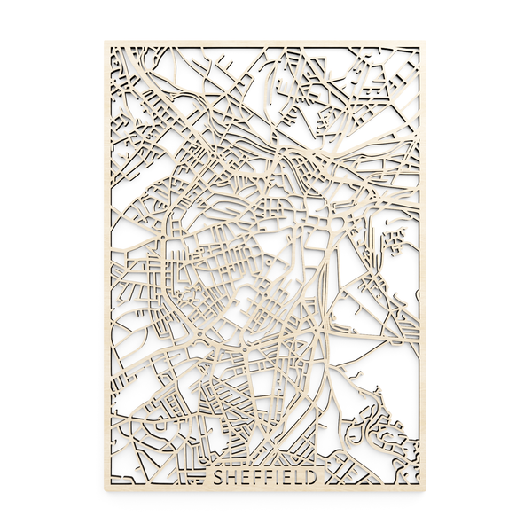 Wooden map of Sheffield