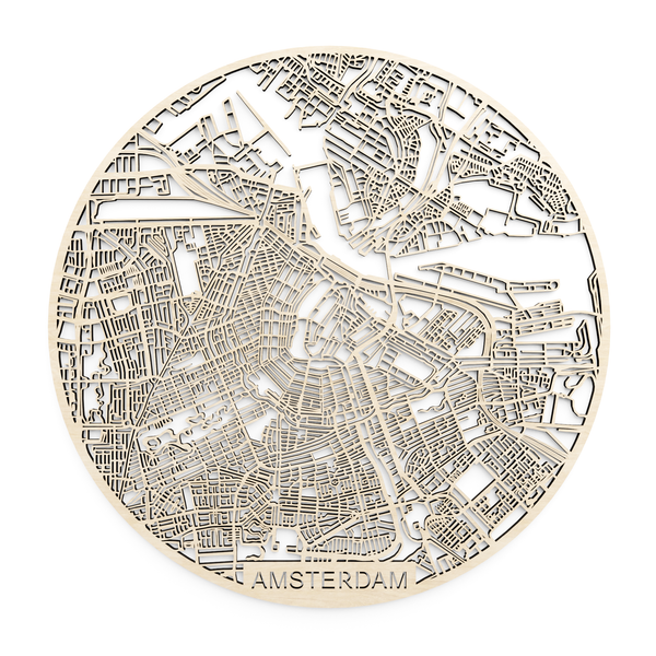 Wooden map of Amsterdam
