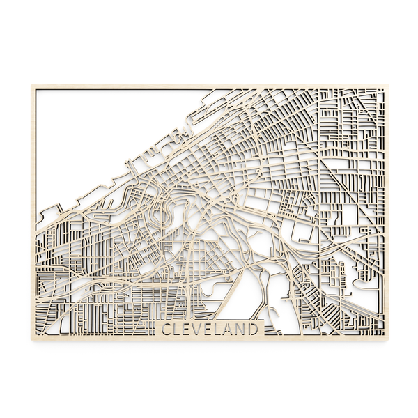 Wooden map of Cleveland