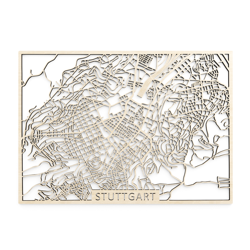 Wooden map of Stuttgart