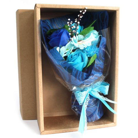 Boxed Hand Soap Flower Bouquet - Blue - Gift2U.co.uk - Unique gifts online to You