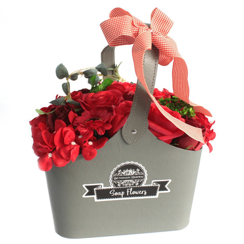 Basket Soap Flower Bouquet - Red - Gift2U.co.uk - Unique gifts online to You