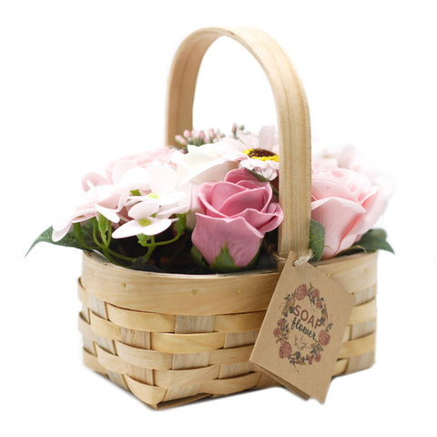 Medium Pink Bouquet in Wicker Basket - Gift2U.co.uk - Unique gifts online to You