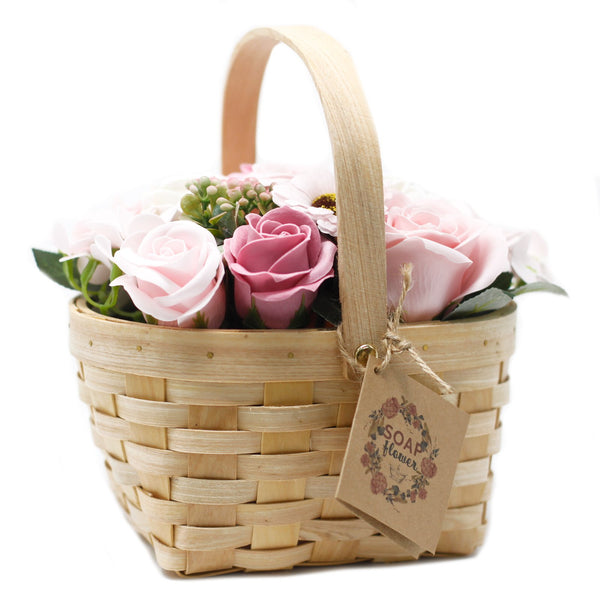 Large Pink Bouquet in Wicker Basket - Gift2U.co.uk - Unique gifts online to You
