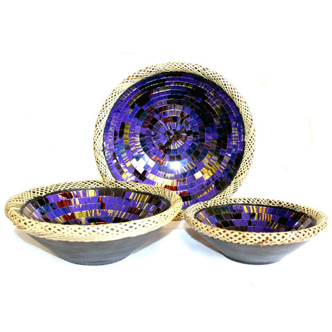 Set of Three Rattan Mosaic Bowl Purple / Green / White / Golden / Ruby