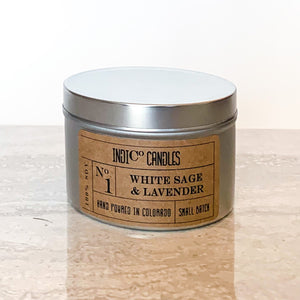 8 oz Tin Candle - White Sage & Lavender