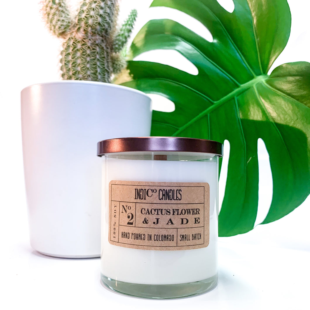 12 oz Glass Jar - Cactus Flower & Jade
