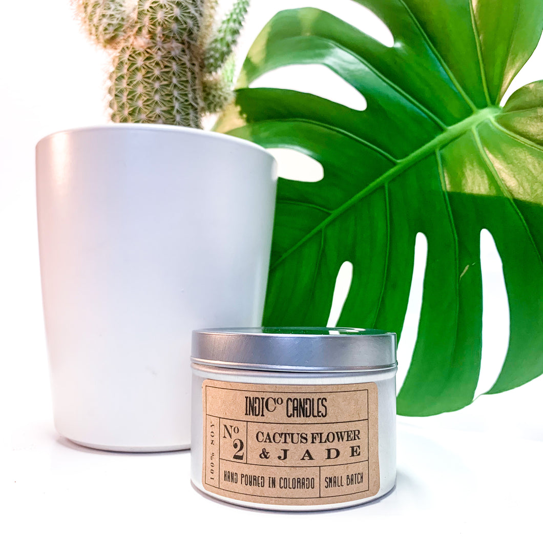 8 oz Tin Candle - Cactus Flower & Jade