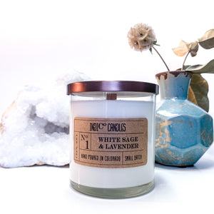 12 oz Glass Jar - White Sage & Lavender