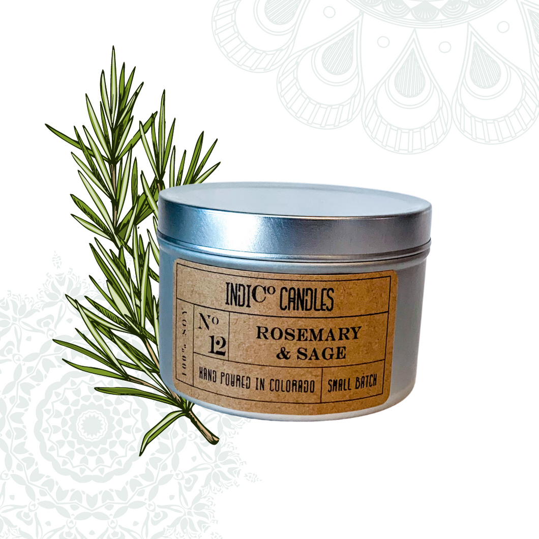 8 oz Tin Candle - Rosemary & Sage