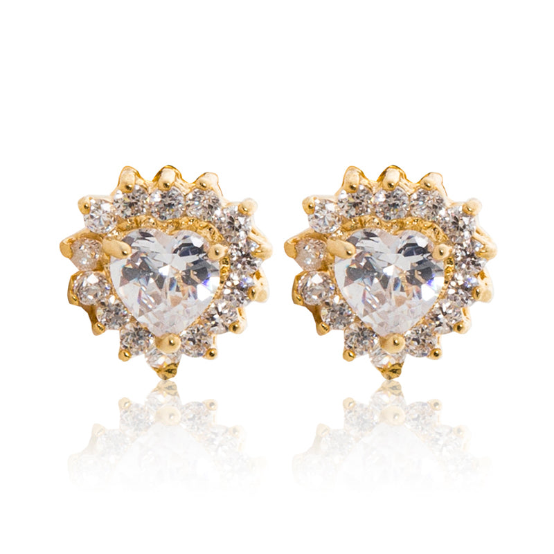 A beautiful tribute to the heart. Delicate 18ct yellow gold plated studs with clear cubic zirconia stones framing a subtle heart at the centre.