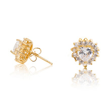 Load image into Gallery viewer, A beautiful tribute to the heart. Delicate 18ct yellow gold plated studs with clear cubic zirconia stones framing a subtle heart at the centre. Side view (butterfly and pole closure))