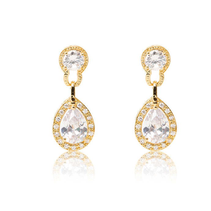 Dazzling 18ct yellow gold plated earrings with centre stones of clear cubic zirconia framed by clear cubic zirconia stones. Front view