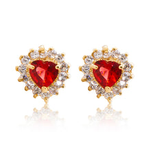 Load image into Gallery viewer, A beautiful tribute to the heart. Delicate 18ct yellow gold plated studs with clear cubic zirconia stones framing a subtle red heart at the centre.