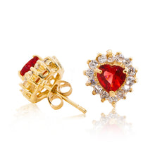 Load image into Gallery viewer, A beautiful tribute to the heart. Delicate 18ct yellow gold plated studs with clear cubic zirconia stones framing a subtle red heart at the centre. Side view (Butterfly and pole closure)
