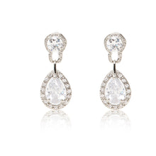 Load image into Gallery viewer, Dazzling rhodium plated earrings with centre stones of clear cubic zirconia framed by clear cubic zirconia stones.