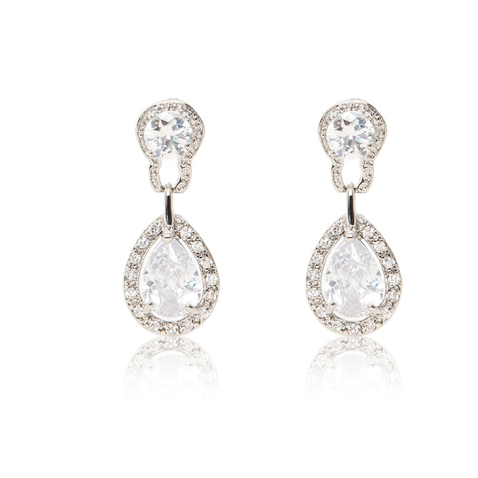 Dazzling rhodium plated earrings with centre stones of clear cubic zirconia framed by clear cubic zirconia stones.