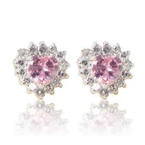 A beautiful tribute to the heart. Delicate rhodium plated studs with cubic zirconia stones framing a subtle pink heart stone at the centre. For pierced ears.