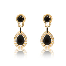 Load image into Gallery viewer, Dazzling 18ct yellow gold plated earrings with centre stones of black cubic zirconia framed by clear cubic zirconia stones.