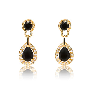 Dazzling 18ct yellow gold plated earrings with centre stones of black cubic zirconia framed by clear cubic zirconia stones.