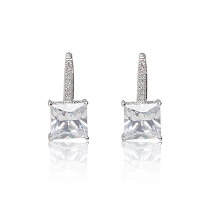 Platinum finished princess cut cubic zirconia line drop hook earrings. For pierced ears.