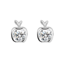 Load image into Gallery viewer, Platinum finished apple stud earrings with a round brilliant cubic zirconia centre. For pierced ears.