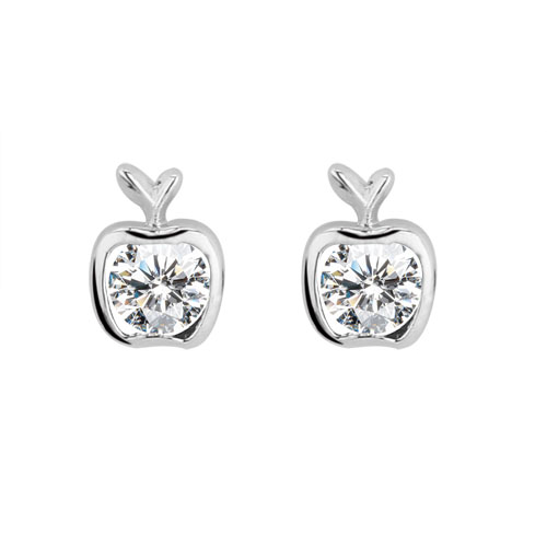 Platinum finished apple stud earrings with a round brilliant cubic zirconia centre. For pierced ears.