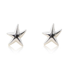 Load image into Gallery viewer, Platinum finished starfish stud earrings. For pierced ears. For pierced ears.