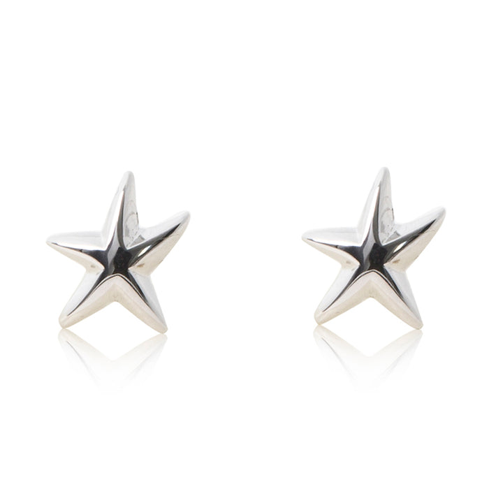 Platinum finished starfish stud earrings. For pierced ears. For pierced ears.