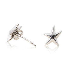 Load image into Gallery viewer, Platinum finished starfish stud earrings. For pierced ears. side view (butterfly and pole fastening)