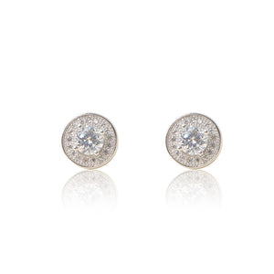 A pair of round brilliant cut centre, pavé set halo in 925 sterling silver stud earrings. For pierced ears. Side view (Butterfly and pole closure)